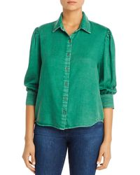 Billy T Chambray Pleat - Shoulder Shirt - Green