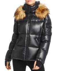Aqua Gloss Allie Faux Fur Trim Puffer Jacket - Black