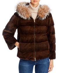Maximilian Mink Fur & Fox Fur Trim Hooded Reversible Jacket - Brown
