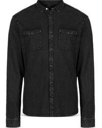 John Varvatos Slim Fit Arvon Knit Western Shirt - Blue