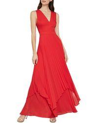 BCBGMAXAZRIA Pleated Satin Cutout Gown - Red