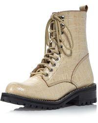 Aqua Women's Jes Lace Up Boots - Natural