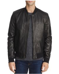 Cole Haan - Leather Varsity Bomber Jacket - Lyst