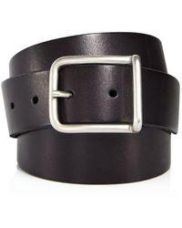 AllSaints Rivet Square Buckle Leather Belt - Black