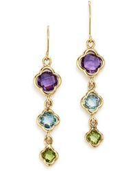 Bloomingdale's - Multicolored Gemstone Triple Clover Drop Earrings In 14k Yellow Gold - Lyst