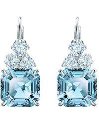 Swarovski Sparkling Aqua Crystal Leverback Earrings - Blue