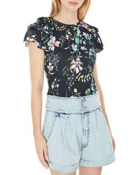 Generation Love Carrie Ruffled Floral Top - Blue