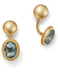 Bloomingdale's Blue Topaz Oval Drop Ear Jackets In 14k Yellow Gold