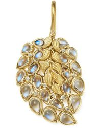 Temple St. Clair - 18k Yellow Gold Diamond And Moonstone Feather Pendant - Lyst