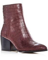 1.STATE - Women's Jahmil Croc Embossed Leather High Block Heel Booties - Lyst