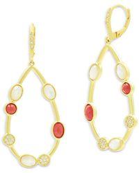 Freida Rothman Beaded Oval Drop Earrings - Metallic