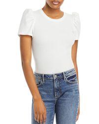 Aqua Puff Sleeve Bodysuit - White