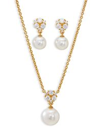 Nadri Camila Imitation Pearl Sparkle Earrings And Pendant Necklace Set - Metallic