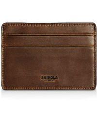 Shinola Distressed Card Case - Brown