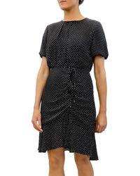 Sam Edelman Polka Dot Ruched Chiffon Mini Dress - Black