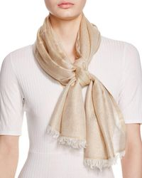 Aqua Solid Metallic Scarf - Natural