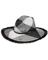 Helene Berman Woven Fringed Hat - Black