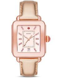 Michele Deco Diamond Sport Watch Head & Leather Strap Watch - Pink