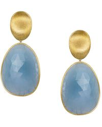 Marco Bicego - 18k Yellow Gold Lunaria Drop Earrings With Aquamarine - Lyst