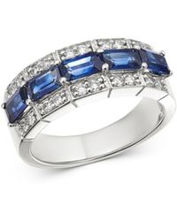 Bloomingdale's Blue Sapphire & Diamond Classic Band In 14k White Gold