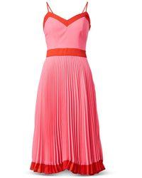 MILLY Jill Pleated Dress - Pink