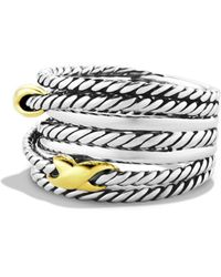 David Yurman Double X Crossover Ring - Metallic