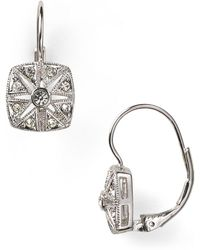 Nadri Vintage Square Leverback Earrings - Metallic