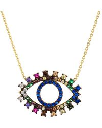 Aqua Multicolor Eye Pendant Necklace In Gold Tone - Plated Sterling Silver