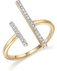 Mateo - 14k Yellow Gold Double Bar Ring With Diamonds - Lyst