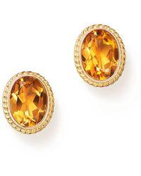 Bloomingdale's Citrine Oval Bezel Stud Earrings In 14k Yellow Gold - Metallic