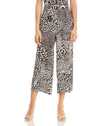 Aqua X Mary Katrantzou Leopard Print Cropped Trousers - Black