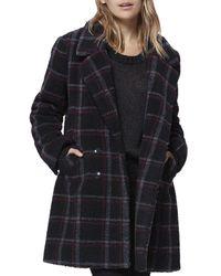 PAIGE Sabinah Plaid Faux - Shearling Coat - Black