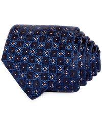HUGO Geometric Grid Silk Skinny Tie - Blue
