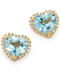 Kiki McDonough - 18k Yellow Gold Grace Blue Topaz & Diamond Heart Earrings - Lyst