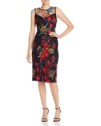 Adrianna Papell Illusion Neck Floral - Embroidered Sheath Dress - Black
