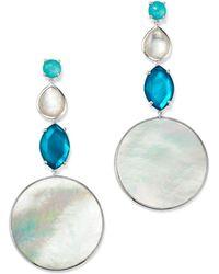 Ippolita - Sterling Silver Wonderland Mother - Of - Pearl & Clear Quartz Doublet Long Drop Earrings In Bermuda - Lyst
