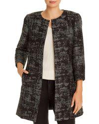 Eileen Fisher Metallic Jacquard Open-front Topper Coat - Black