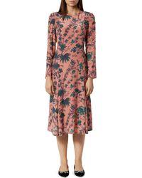 L.K.Bennett Noah Beaded Floral Midi Dress - Pink