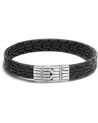 John Hardy Classic Chain Men's Leather Bracelet - Black
