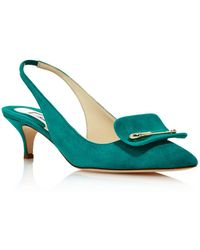 Brian Atwood - Women's Giulia Suede Slingback Kitten Heel Court Shoes - Lyst