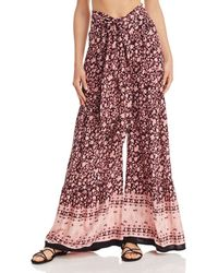 Aqua - Floral Tiered Wide - Leg Trousers - Lyst