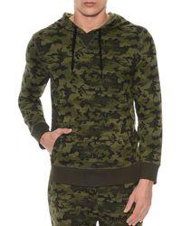 2xist 2(x)ist Camouflage Terry Pullover Hoodie Lounge Sweatshirt - Green
