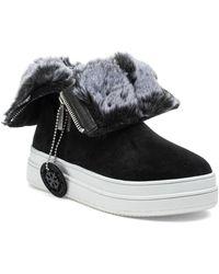 J/Slides Tristan Faux Fur Lined Waterproof Trainer Boots - Black