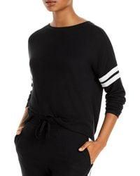 Aqua Athletic Stripe Sleeve Knit Sweatshirt - Black