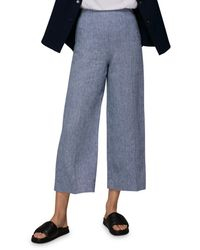 Whistles Chambray Linen Cropped Trousers - Blue
