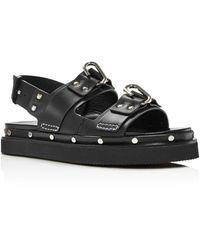 3.1 Phillip Lim Alix Flatform Leather Slingback Sandals - Black
