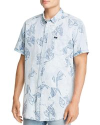 RVCA Dead Flag Short - Sleeve Leaf - Print Regular Fit Button - Down Shirt - Blue
