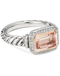 David Yurman Sterling Silver Novella Ring With Morganite - Metallic