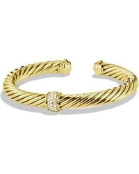 David Yurman - Cable Classics Bracelet In Gold With Diamonds - Lyst