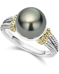 Lagos - 18k Gold And Sterling Silver Luna Cultured Freshwater Black Pearl Ring - Lyst